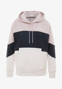 Under Armour - RIVAL FLEECE COLOR BLOCK HOODIE - Mikina skapucí - dash pink/black/french gray - 4