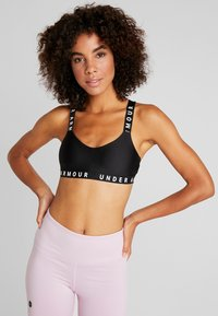 Under Armour - WORDMARK STRAPPY SPORTLETTE - Reggiseno sportivo - black/white - 0