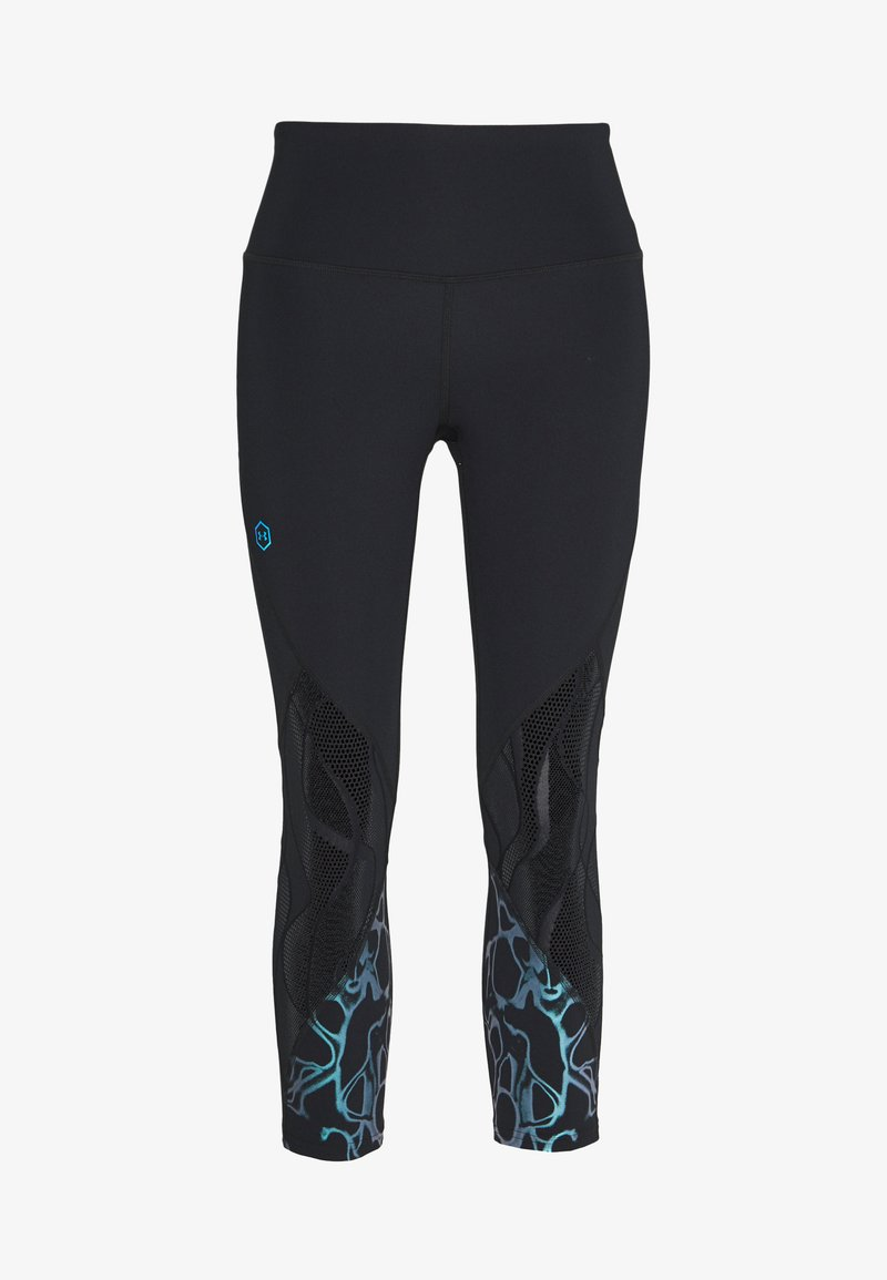 Under Armour - UA RUSH VENT IRIDESCENT GRAPHIC CROP - Legginsy - black/halo gray/black