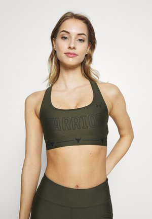 PROJECT ROCK MID CROSSBACK BRA WARRIOR - Sportovní podprsenka - guardian green/black