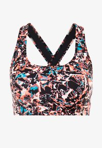 Under Armour - MID CROSSBACK PRINTED BRA - Sport BH - black/metallic silver - 4