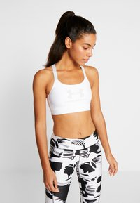 Under Armour - ARMOUR MID SPORTSTYLE GRAPHIC BRA - Sports bra - white/halo gray/halo gray - 0
