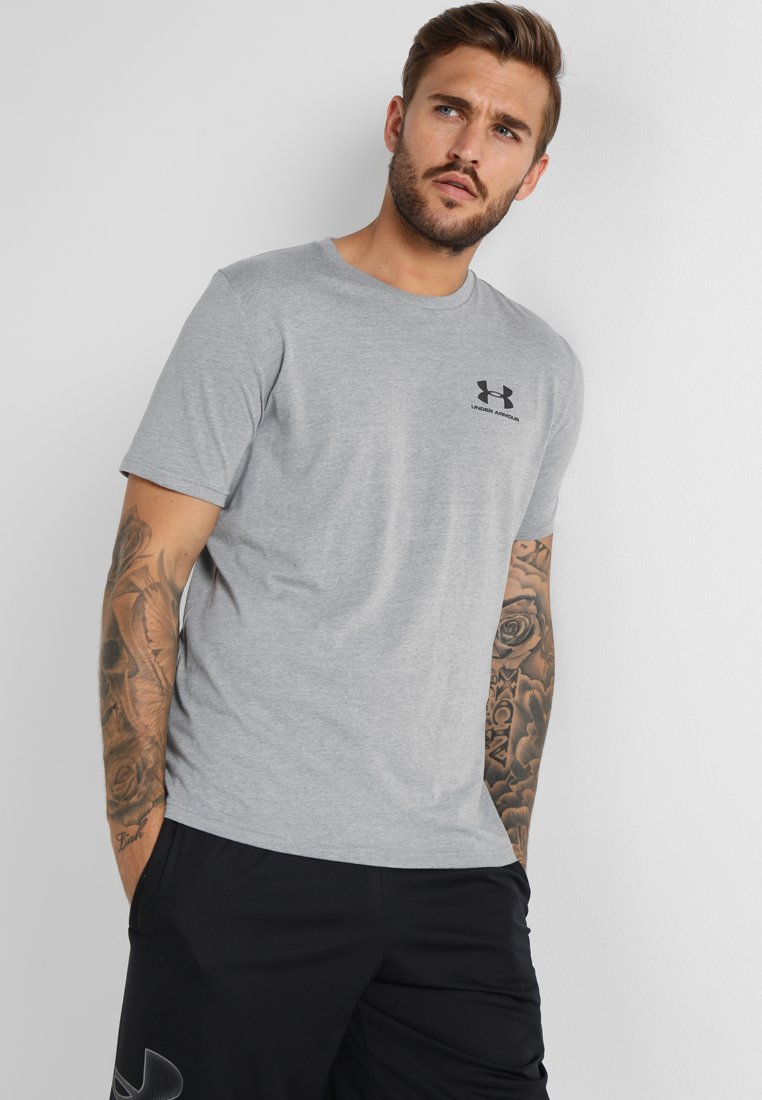 Under Armour - SPORTSTYLE LEFT CHEST - Basic T-shirt - steel light heather/black