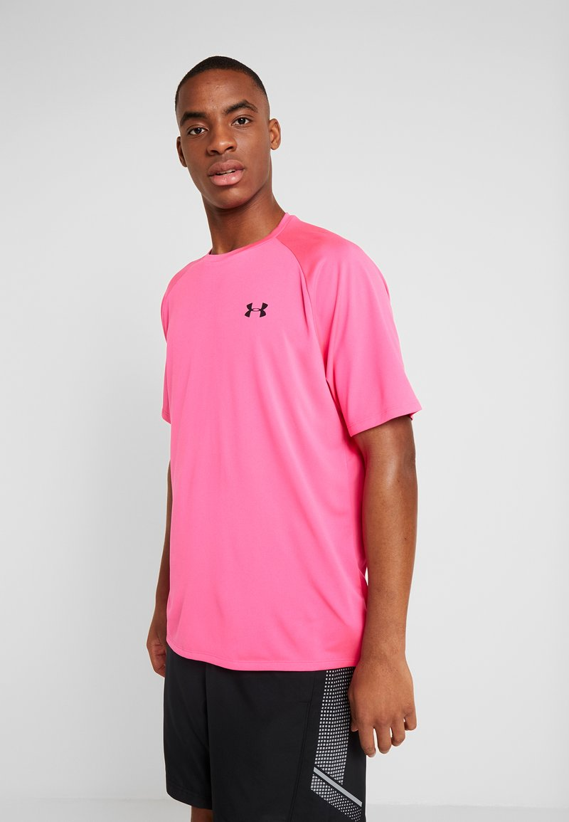 Under Armour - TECH TEE - Print T-shirt - pink surge/black