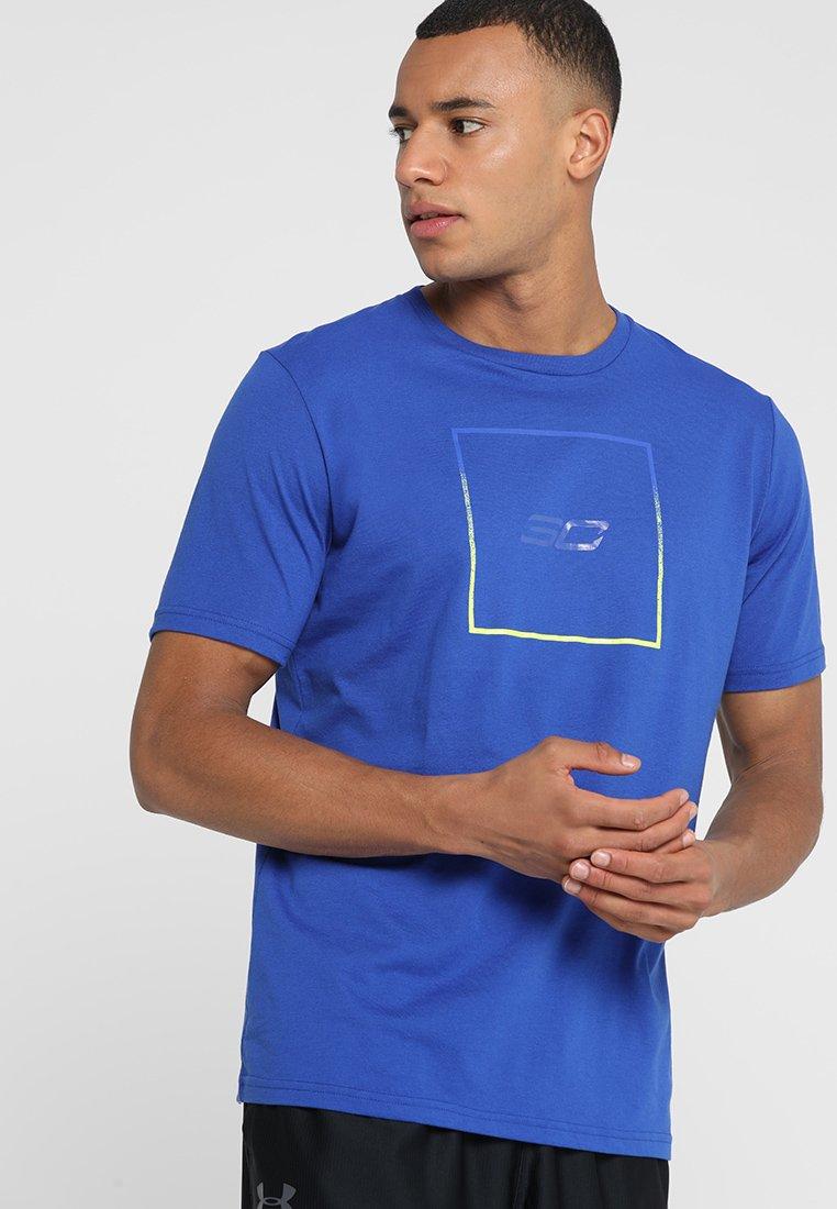 Under Armour - BOX LOGO TEE - T-Shirt print - black/orange glitch/ash taupe