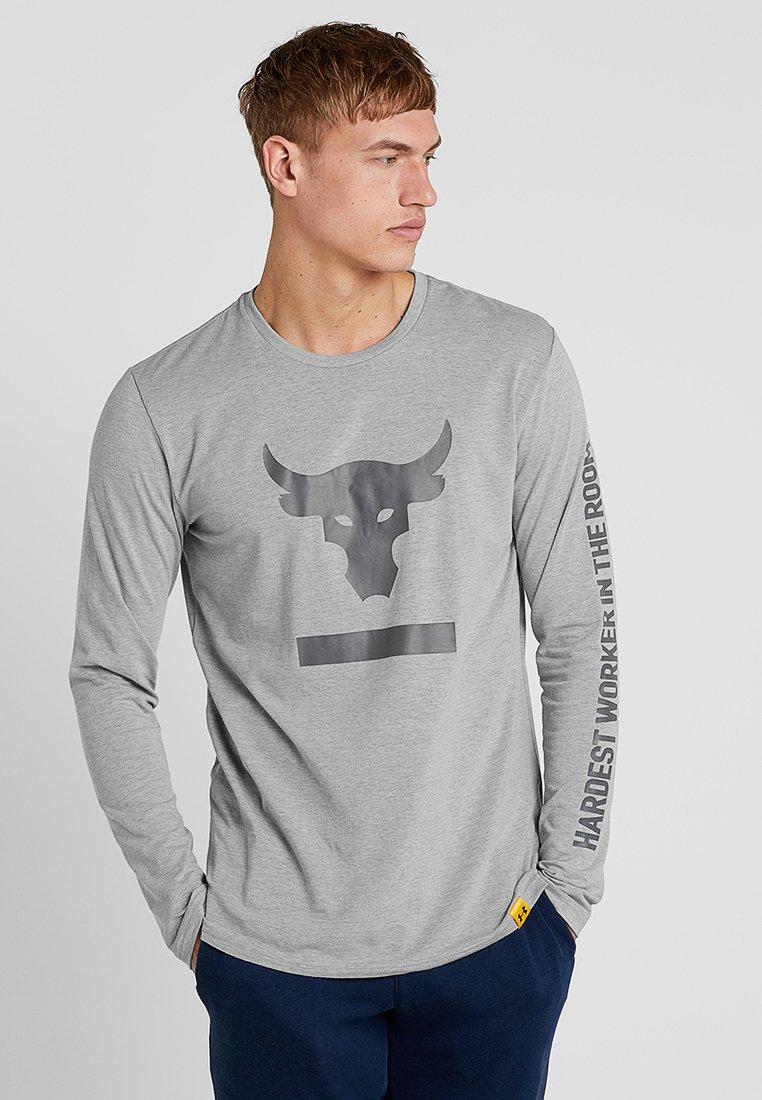 Under Armour - PROJECT ROCK HARDEST WORKER - Funktionsshirt - steel light heather/pitch grey