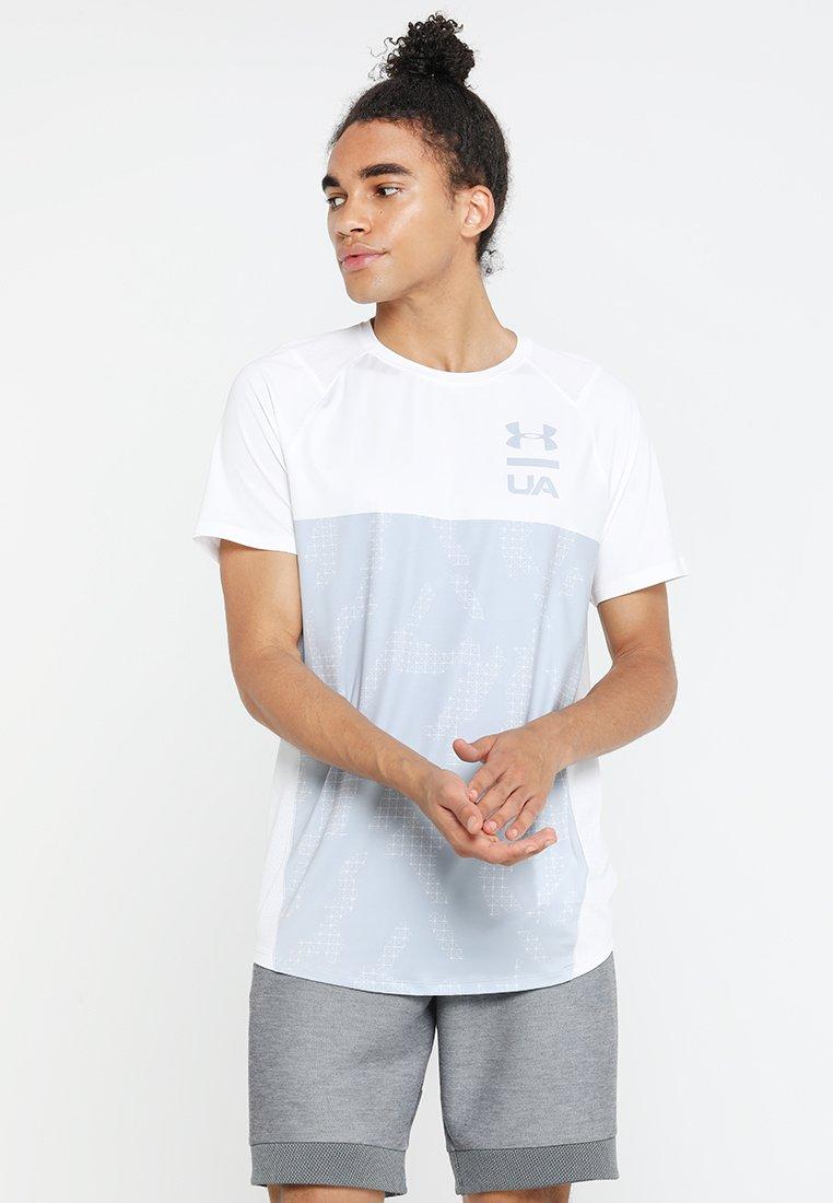 Under Armour - COLORBLOCK - T-Shirt print - white/mod grey