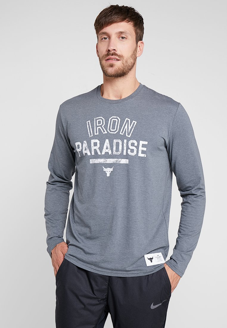 Under Armour - PROJECT ROCK IRON PARADISE - Funktionsshirt - pitch gray medium heather/white