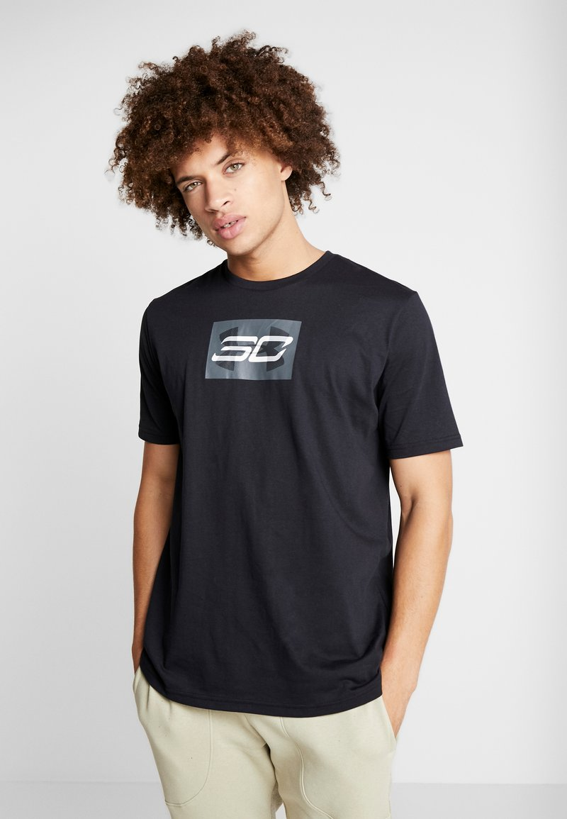 Under Armour - SC30 OVERLAY SS TEE - T-shirt print - black/white