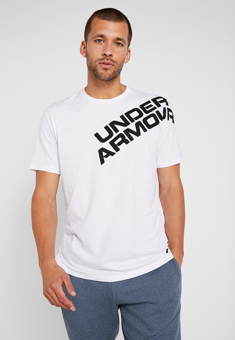 Under Armour - WORDMARK SHOULDER - T-shirt z nadrukiem - white/black