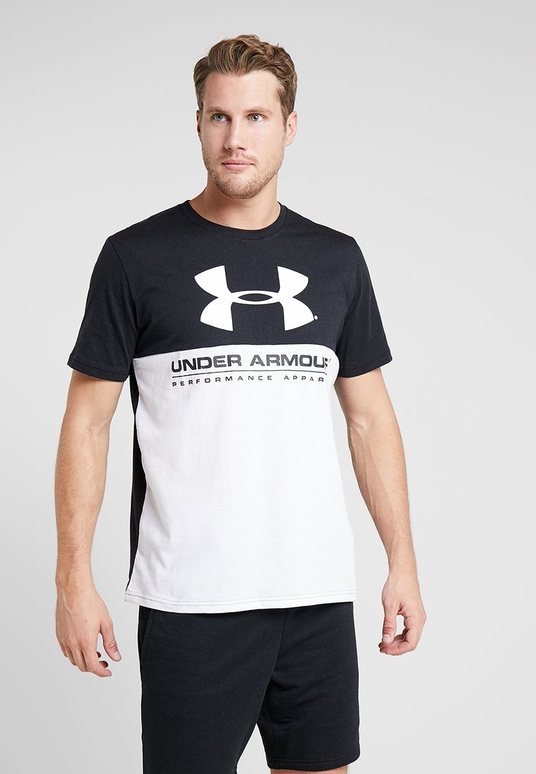 Under Armour - PERFORMANCEAPPAREL COLOR BLOCKED  - Print T-shirt - black/white