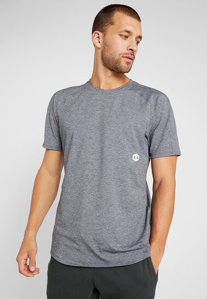 ATHLETE RECOVERY TRAVEL TEE - Camiseta básica - black fade heather/metallic silver