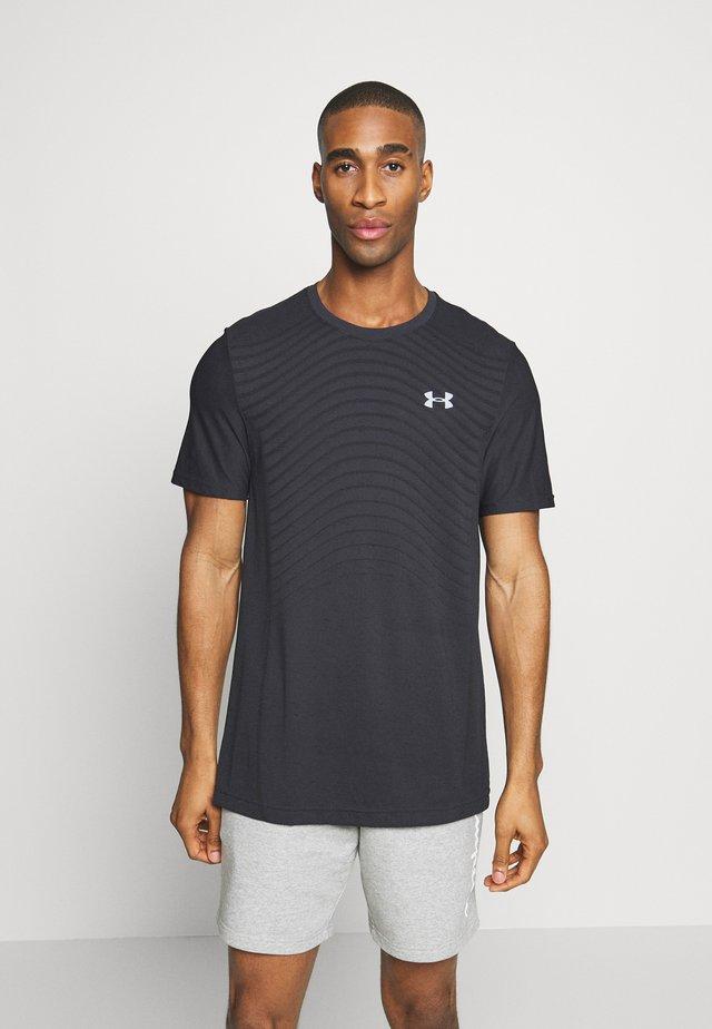 SEAMLESS WAVE - Camiseta estampada - black/mod gray