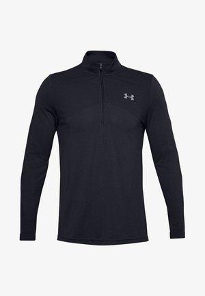 UA SEAMLESS 1/2 ZIP - Camiseta de manga larga - black