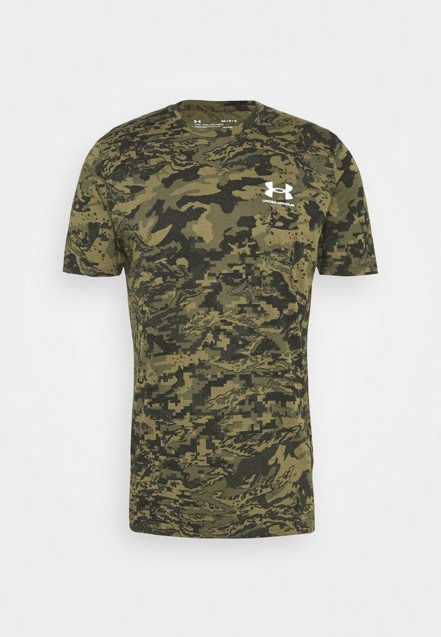 T-shirt med print - black/khaki