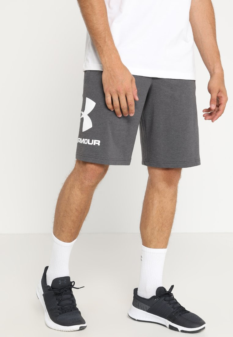 Under Armour - SPORTSTYLE COTTON LOGO SHORTS - Sports shorts - charcoal medium heather/white