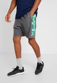 Under Armour - GRAPHIC EMBOSS SHORTS - Sports shorts - pitch gray/vapor green - 0