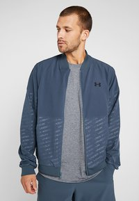 Under Armour - UNSTOPPABLE EMBOSS BOMBER - Training jacket - wire/black - 0