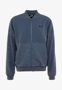 Under Armour - UNSTOPPABLE EMBOSS BOMBER - Training jacket - wire/black - 4