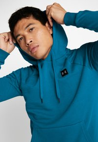 Under Armour - RIVAL HOODY - Mikina s kapucí - teal vibe/black - 4