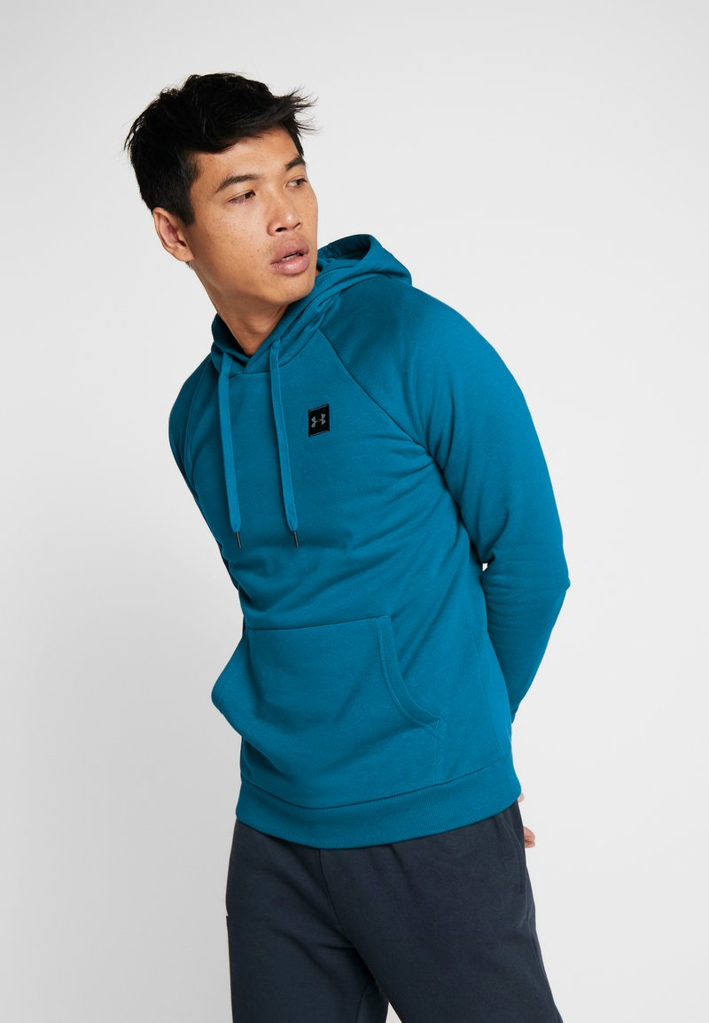 Under Armour - RIVAL HOODY - Mikina s kapucí - teal vibe/black