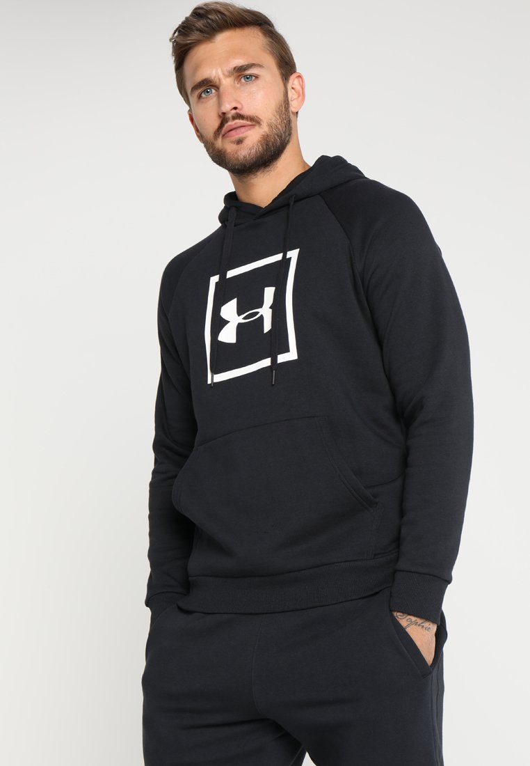 Under Armour - RIVAL LOGO HOODY - Hoodie - black/white