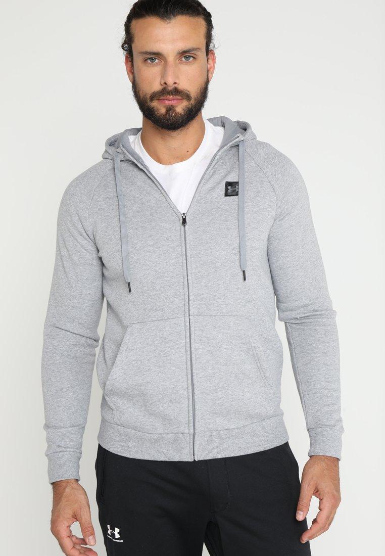 Under Armour - RIVAL HOODY - Zip-up hoodie - steel light heather/black