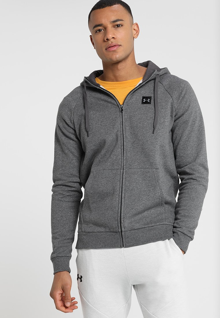 Under Armour - RIVAL HOODY - Sweatjacke - charcoal light heather/black