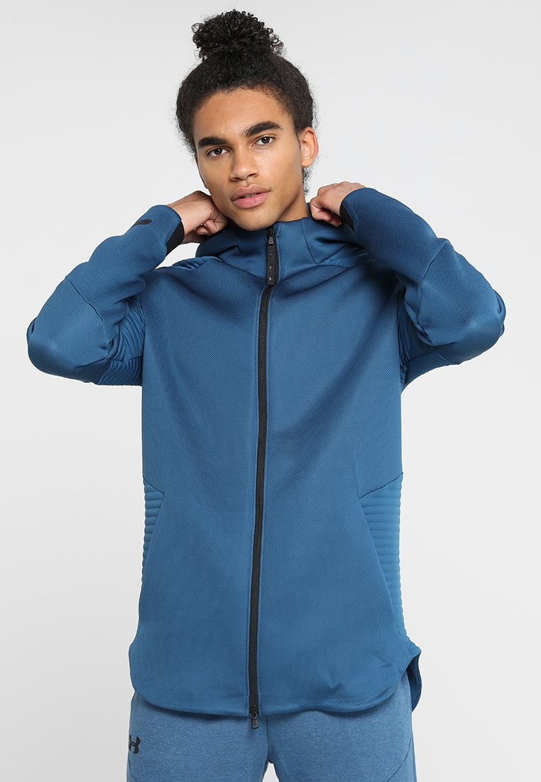 Under Armour - UNSTOPPABLE MOVE HOODIE - Mikina na zip - petrol blue/thunder/black