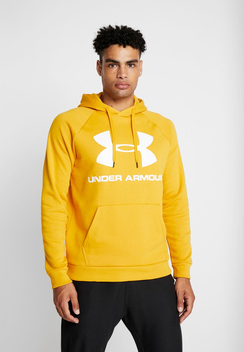 Under Armour - RIVAL SPORTSTYLE LOGO HOODIE - Hættetrøjer - golden yellow/white