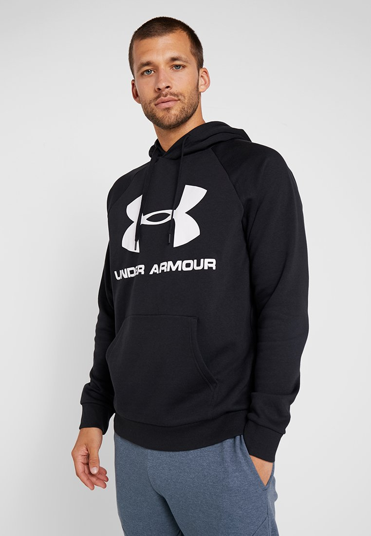Under Armour - RIVAL SPORTSTYLE LOGO HOODIE - Hoodie - black/white