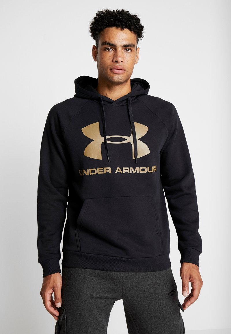 Under Armour - RIVAL SPORTSTYLE LOGO HOODIE - Hoodie - black/outpost green