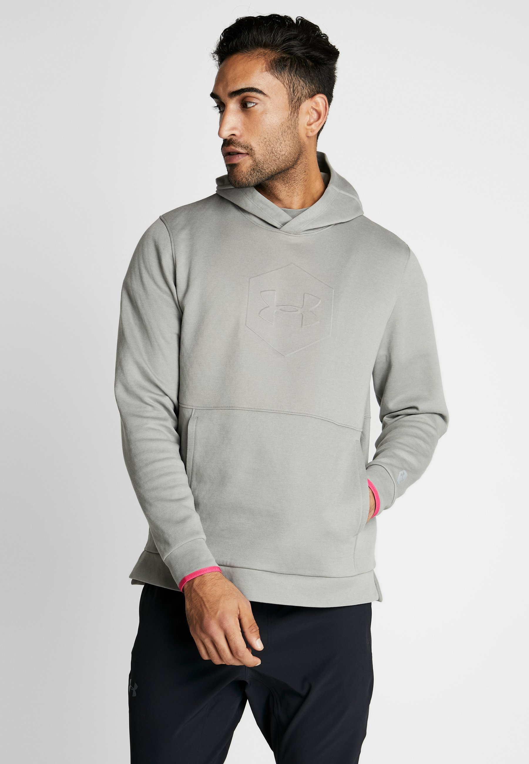 Under Armour ATHLETE RECOVERY GRAPHIC HOODIE - Bluza z kapturem - gravity green/metallic silver