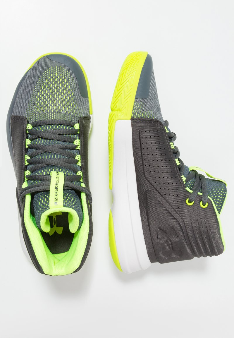 Under Armour - TORCH MID - Basketball shoes - pitch gray/jet gray/high-vis yellow