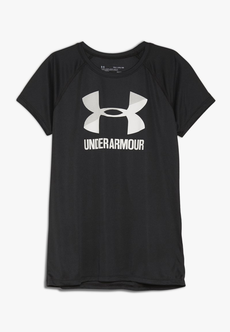 Under Armour - BIG LOGO TEE SOLID - Print T-shirt - black/white