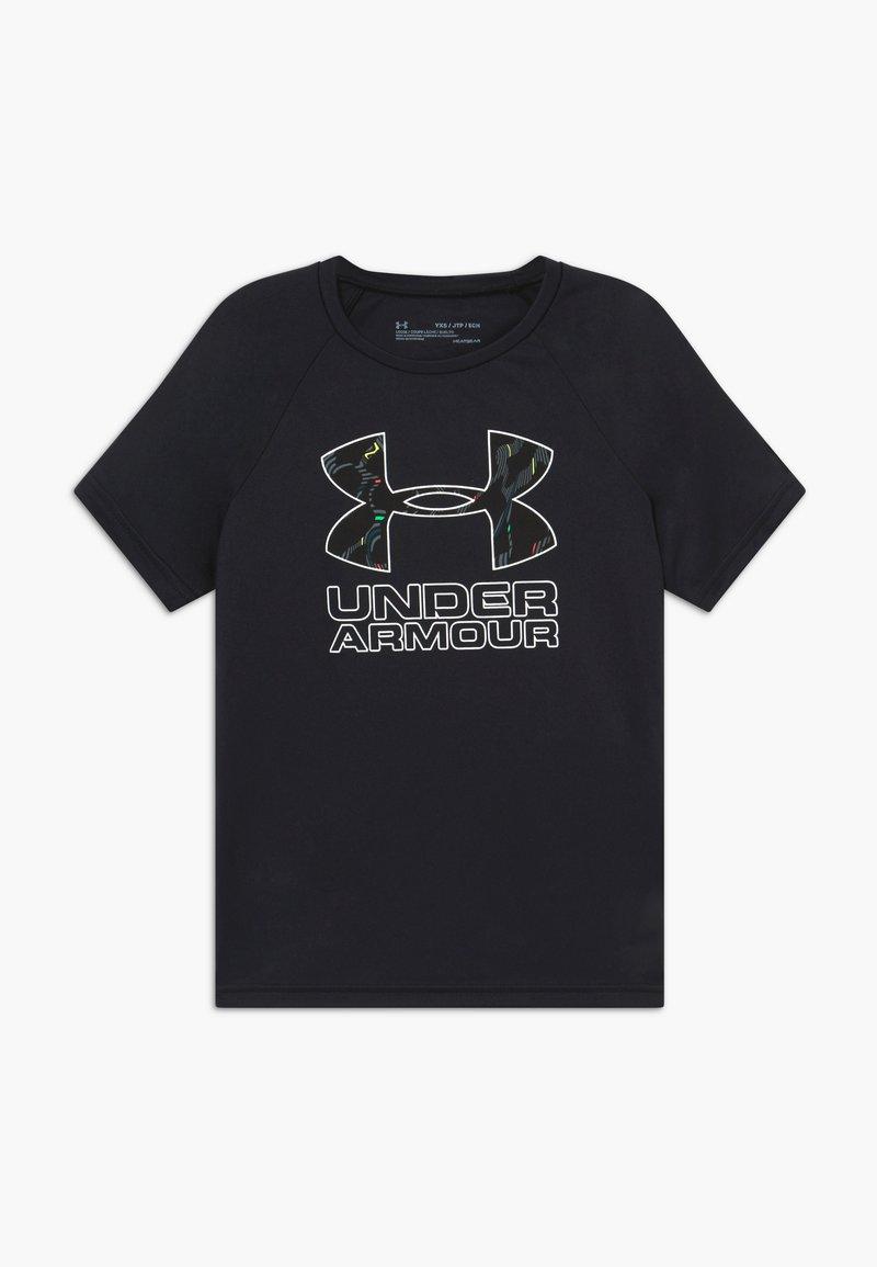 Under Armour - TECH HYBRID PRINT FILL LOGO TEE - T-shirt z nadrukiem - black/white