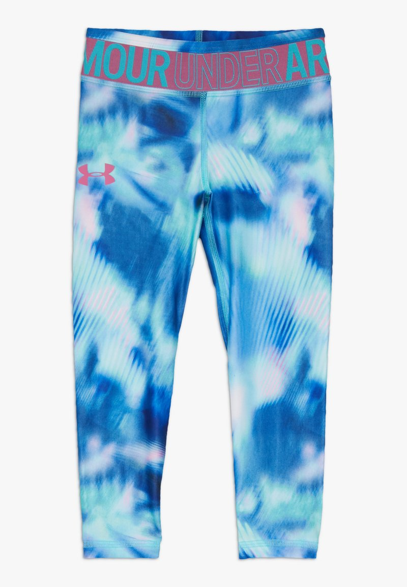 Under Armour - PRINTED ANKLE CROP - Collants - breathtaking blue/pace pink