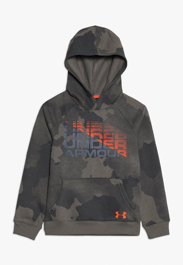 Under Armour - RIVAL WORDMARK HOODY - Hoodie - pitch gray/orange glitch
