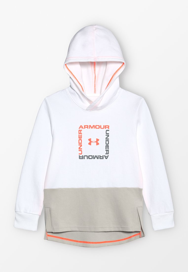Under Armour - UNSTOPPABLE DOUBLE HOODY - Hoodie - white/orange glitch