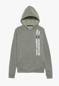 Under Armour - RIVAL WORDMARK HOODY - Luvtröja - guardian green light heather/black - 0