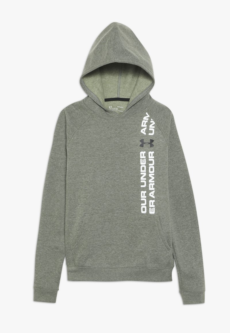 Under Armour - RIVAL WORDMARK HOODY - Huppari - guardian green light heather/black