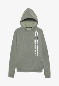 Under Armour - RIVAL WORDMARK HOODY - Huppari - guardian green light heather/black - 3