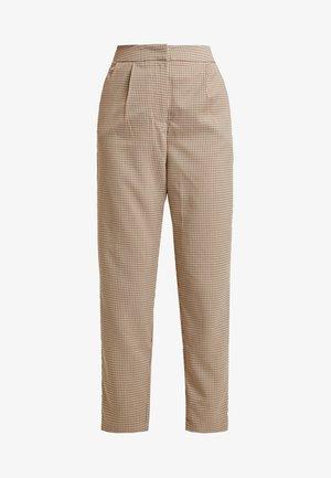 CHECK SUIT TROUSERS - Pantalon classique - brown