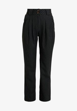 PINSTRIPE SLIM FIT CIGARETTE TROUSER - Kalhoty - black