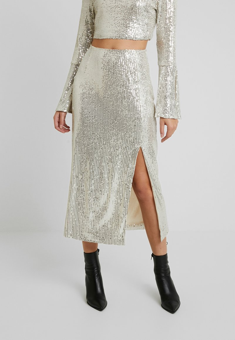 UNIQUE 21 - SEQUIN MIDI SKIRT - Bleistiftrock - brushed silver