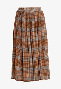 UNIQUE 21 - PLEATED SKIRT IN CHECK PRINT - Jupe trapèze - mustard - 3