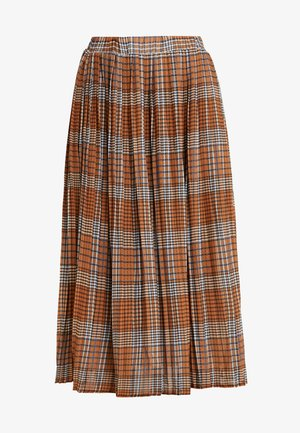 PLEATED SKIRT IN CHECK PRINT - A-line skjørt - mustard