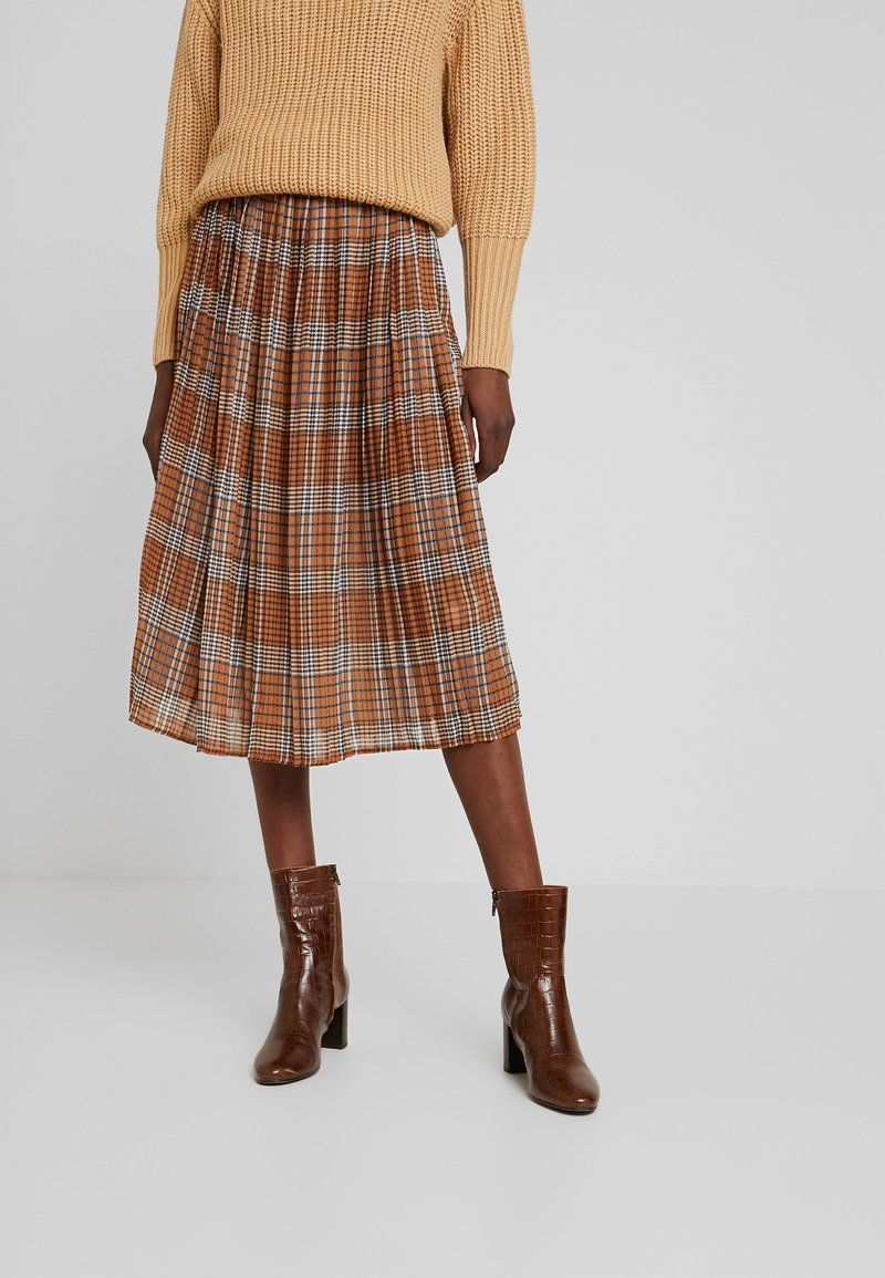 UNIQUE 21 - PLEATED SKIRT IN CHECK PRINT - Jupe trapèze - mustard