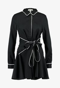 UNIQUE 21 - DRESS WITH CONTRAST BINDING AND BOW TIE WAIST - Robe chemise - black - 5