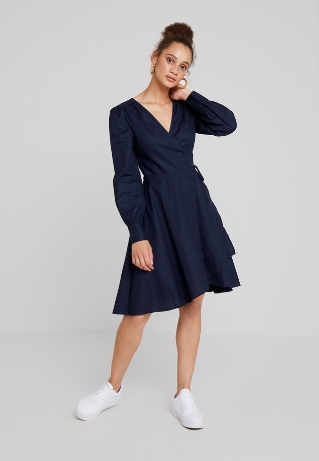 TAILORED WRAP DRESS - Day dress - blue